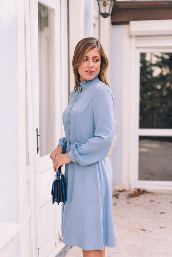 Denina Martin wearing blue dress