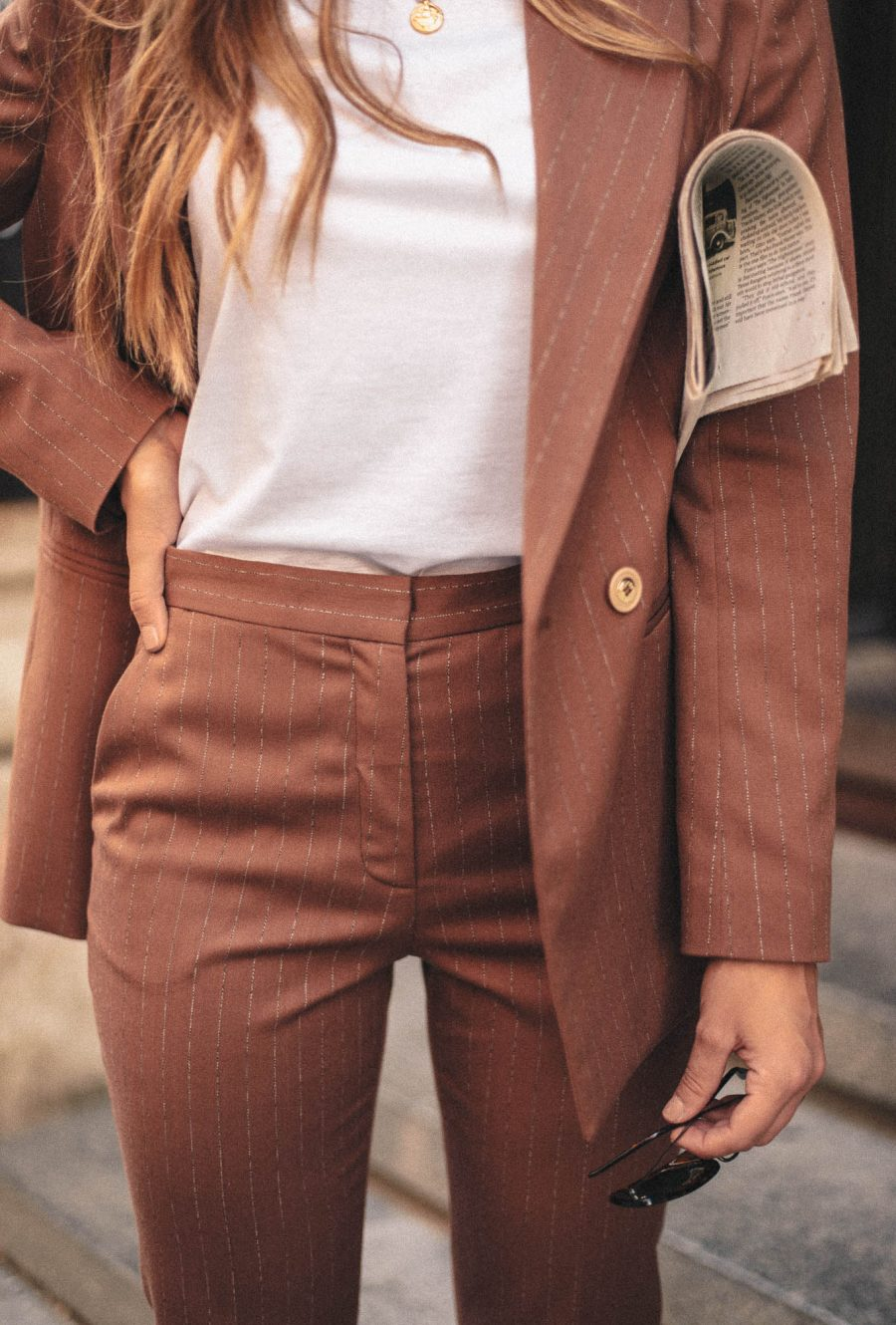 Brown suit blazer and trousers