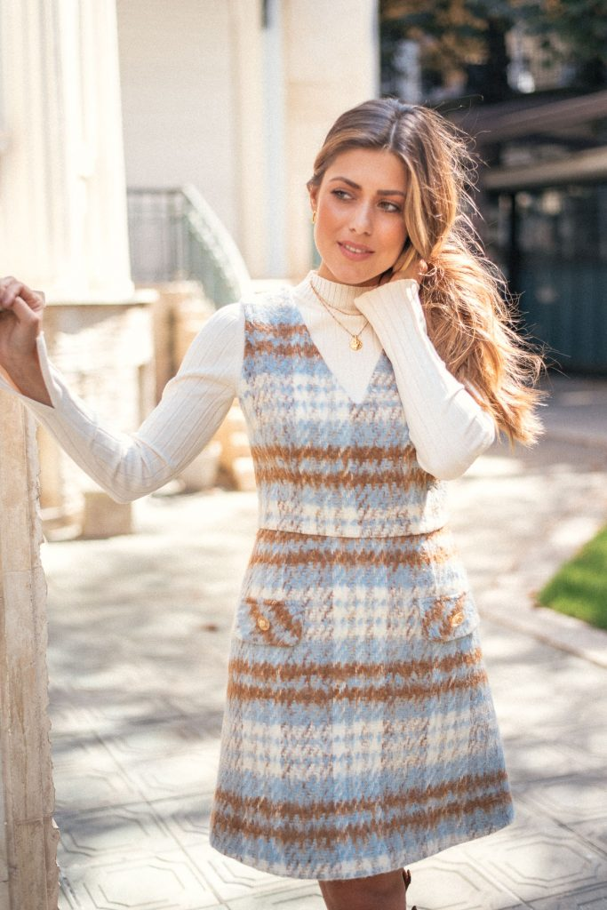 Angela pinafore dress by Denina Martin