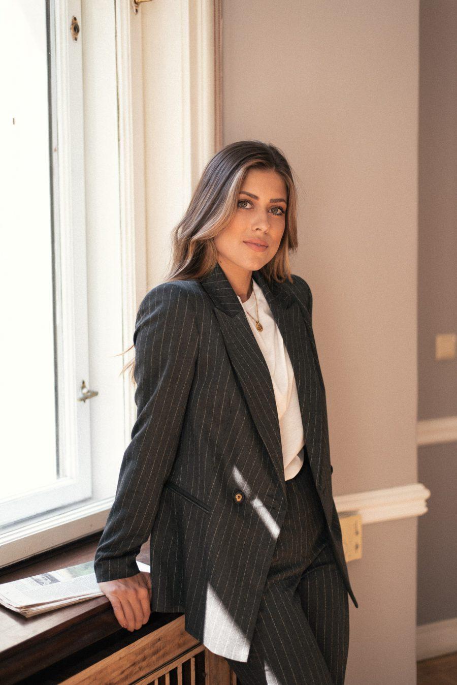 Grey blazer matter Denina Martin Collection