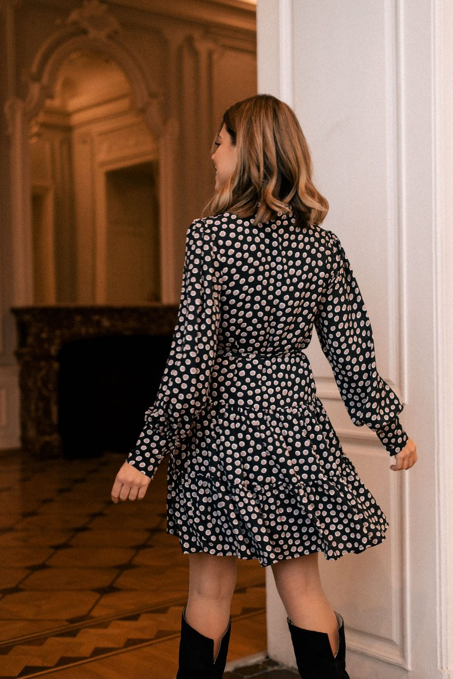Denina Martin Collection black dress with dots