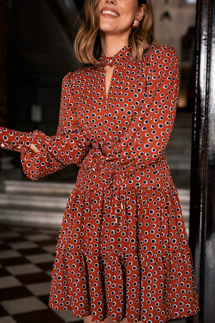 Burnt orange printed dress
