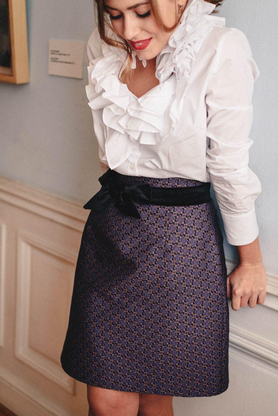 Festive skirt made of jacquard