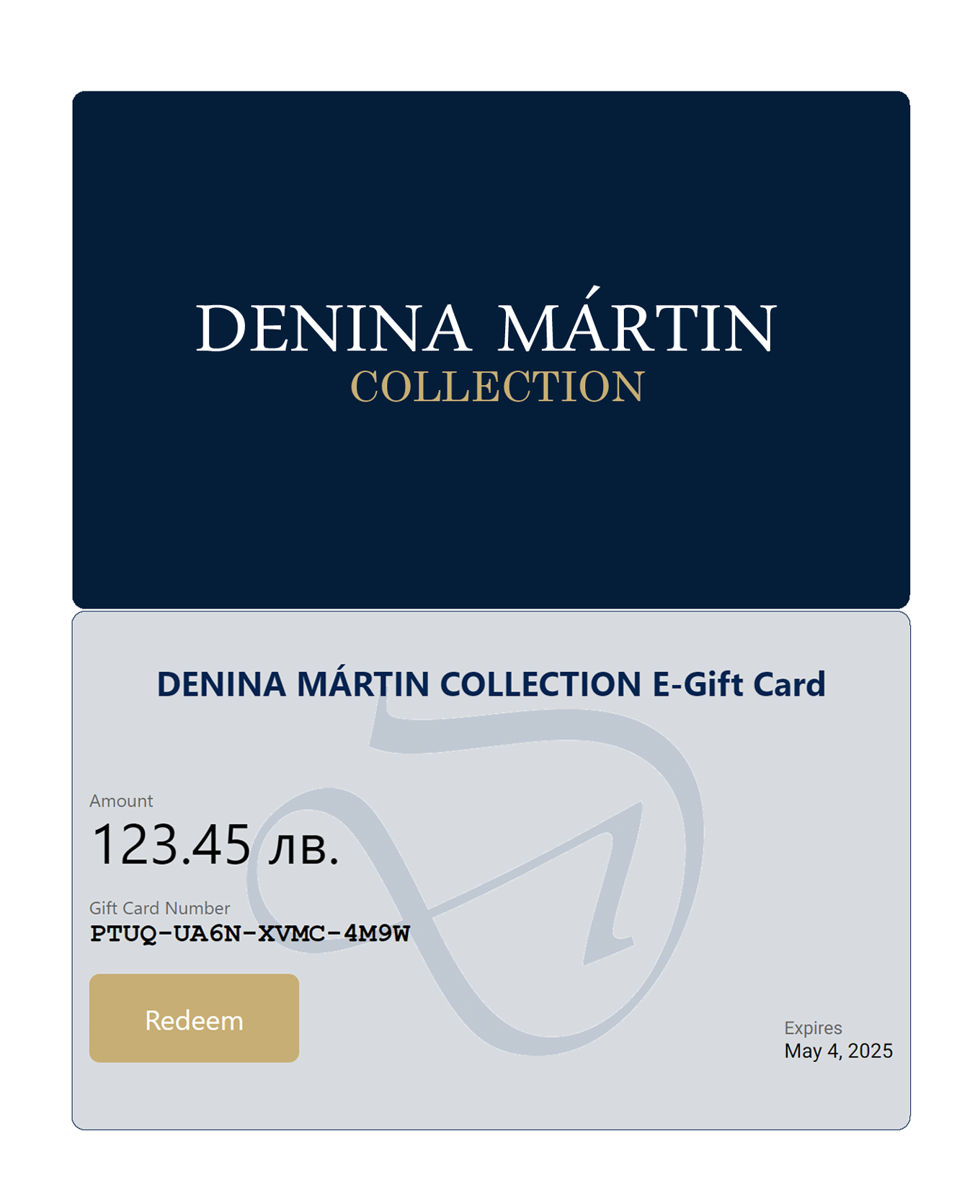 gift card Denina Martin Collection