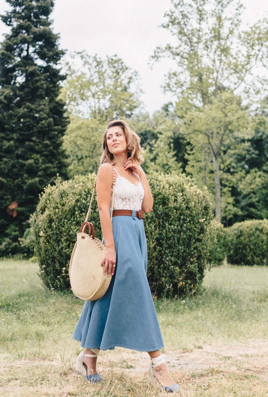 Denina Martin Collection blue denim skirt