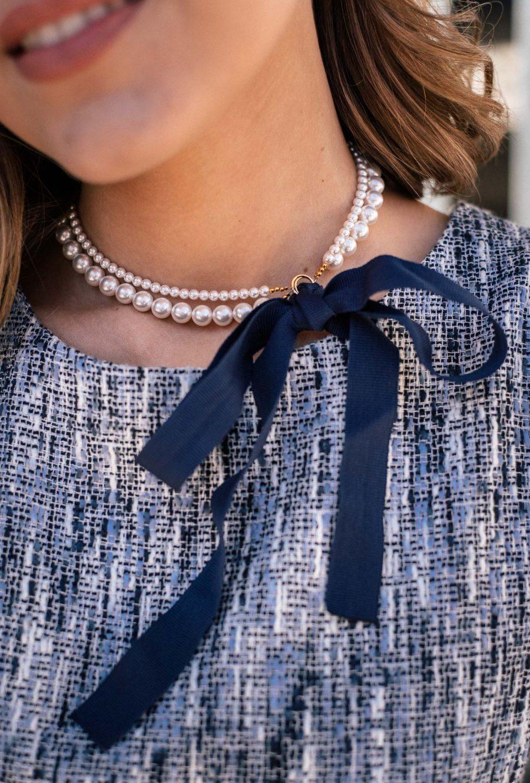 Ribbon necklace with SWAROVSKI pearls_5069