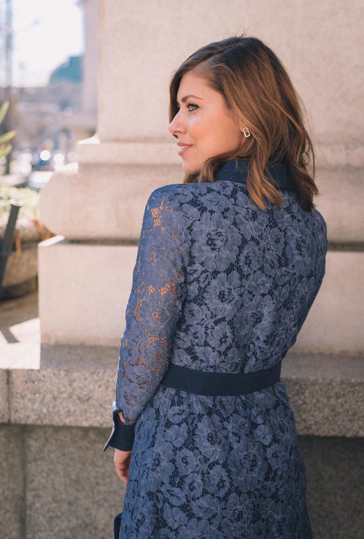 blue lace dress back