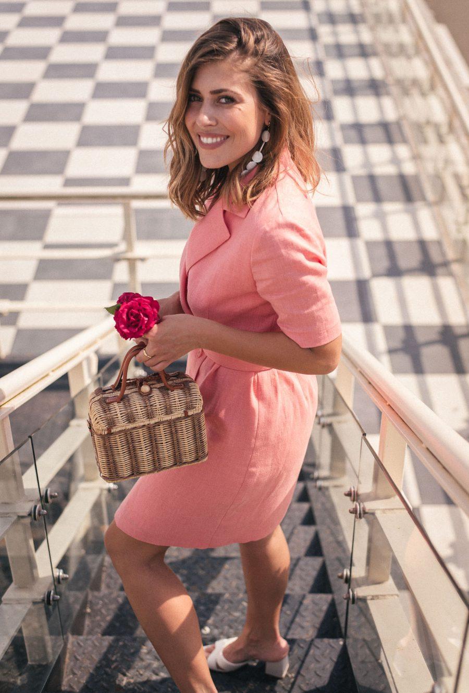 Pink linen made dress