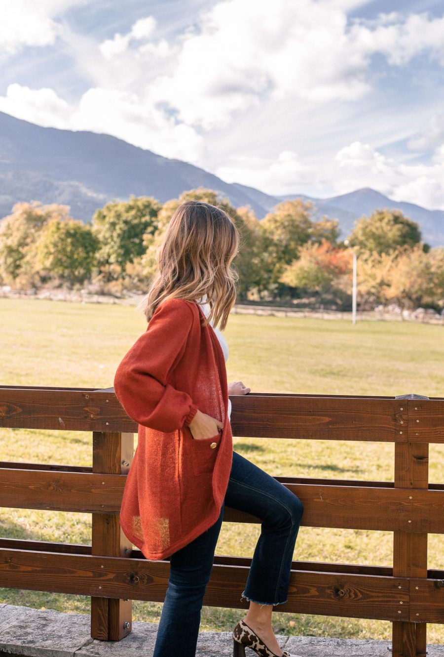 Cardigan in rusty red_by Denina Martin Collection