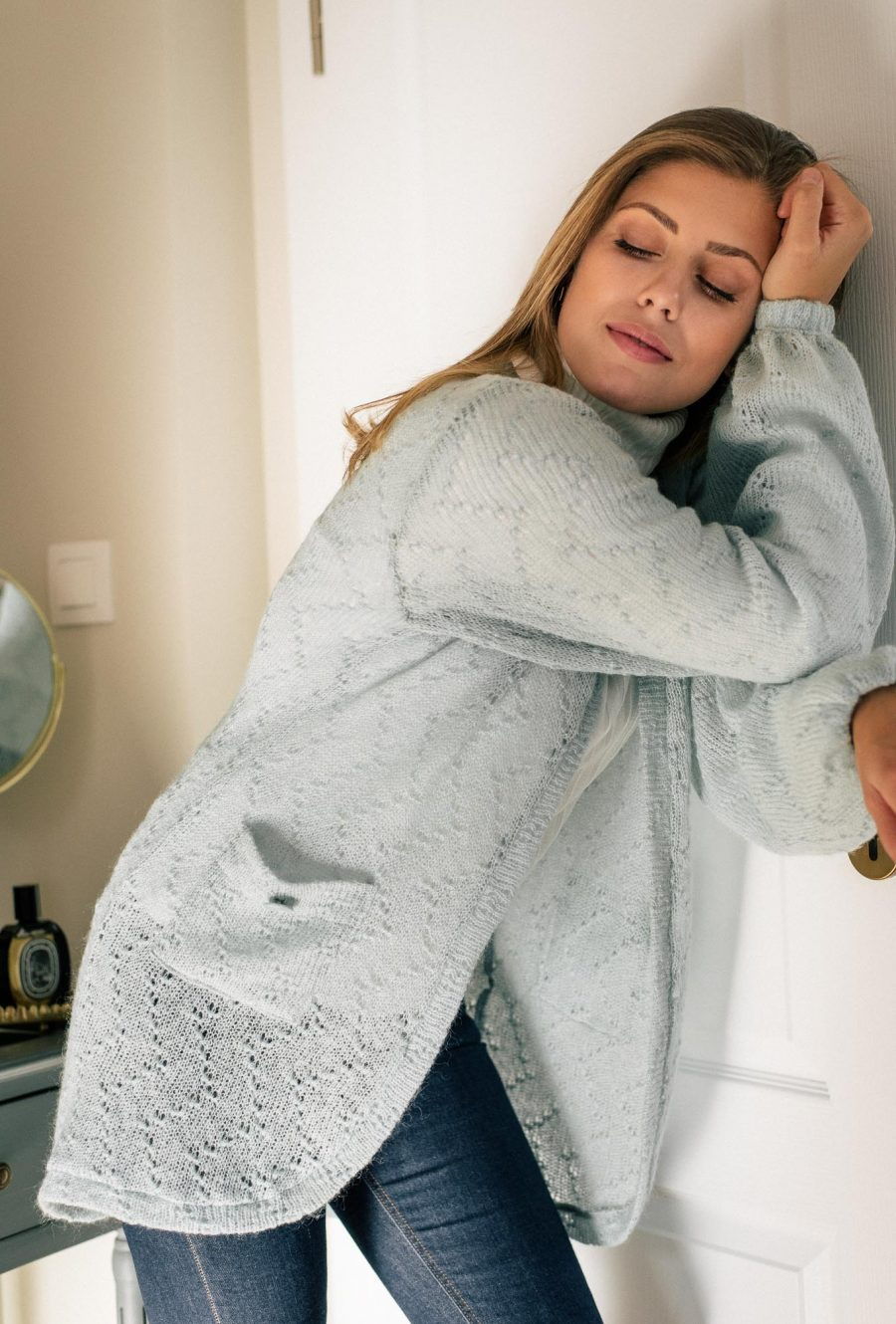 cosy knit cardigan in light blue