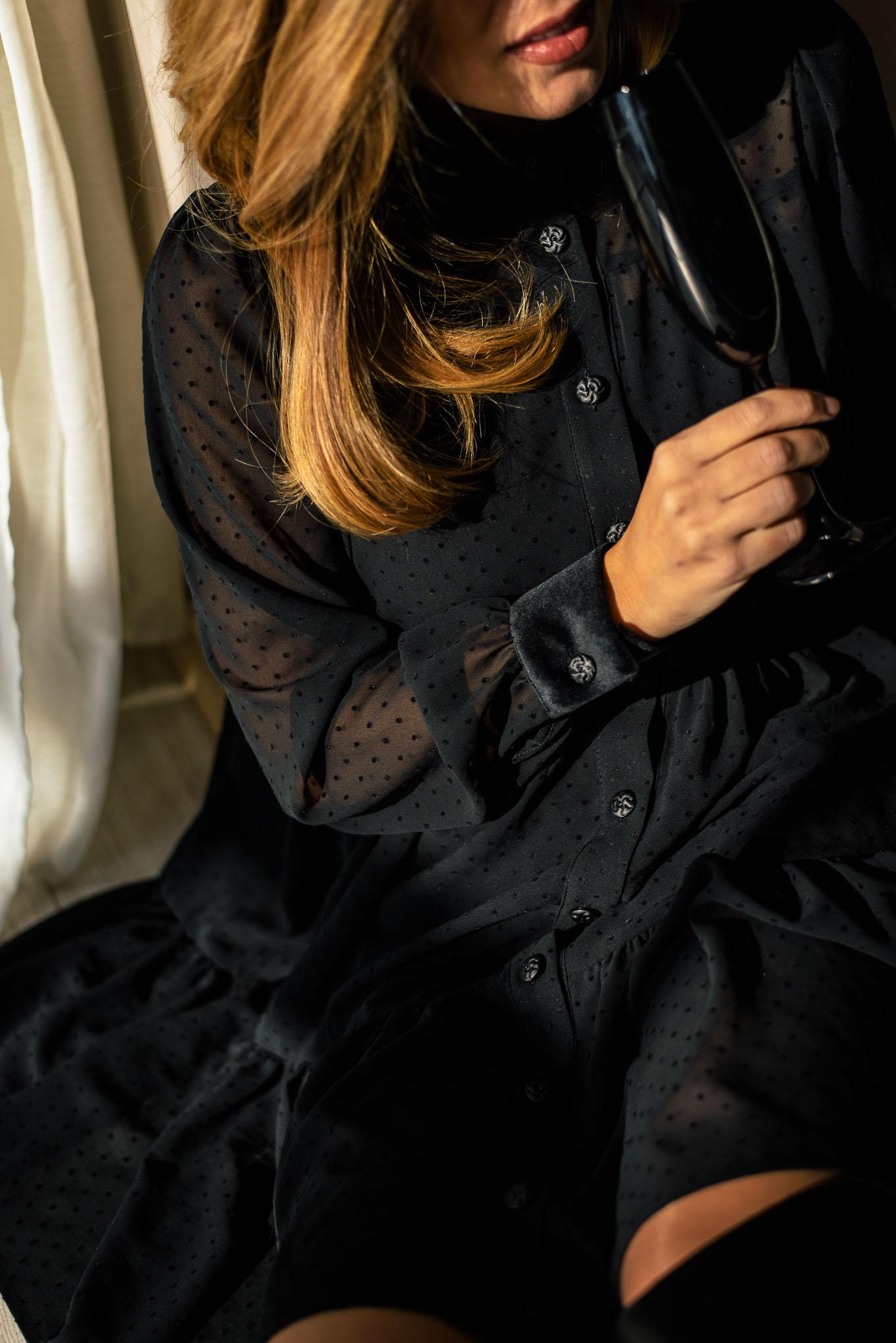 Black plumetis dress