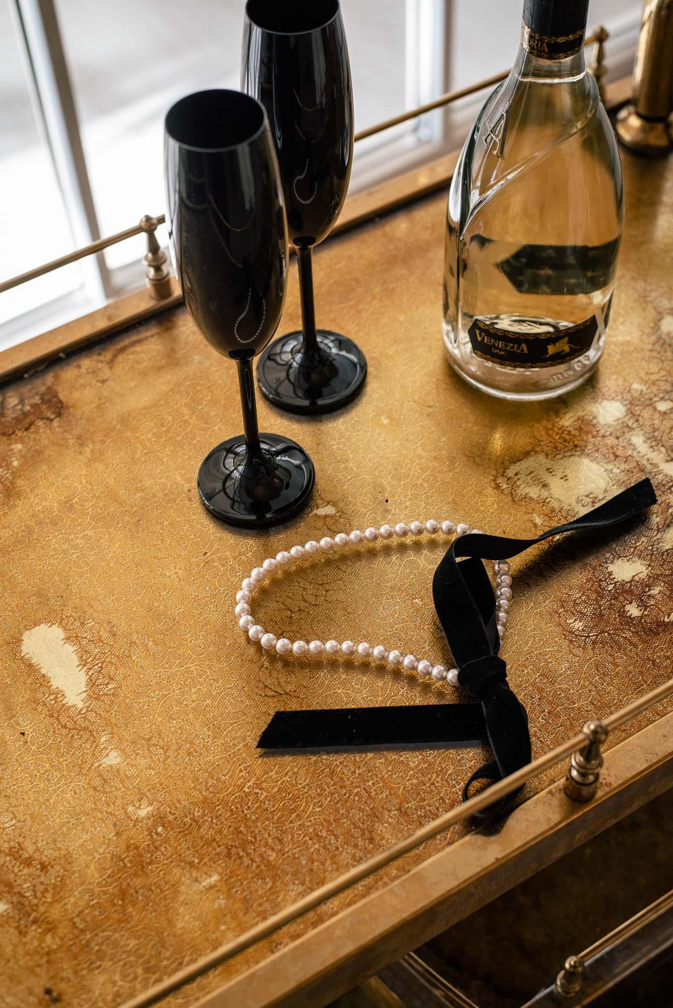 Holiday edition Ribbon Necklace SWAROVSKI pearls