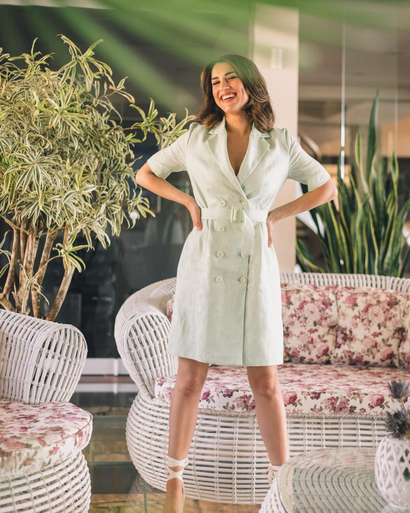 Gal linen blazer dress