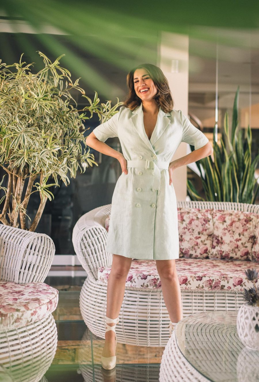 Gal linen blazer dress