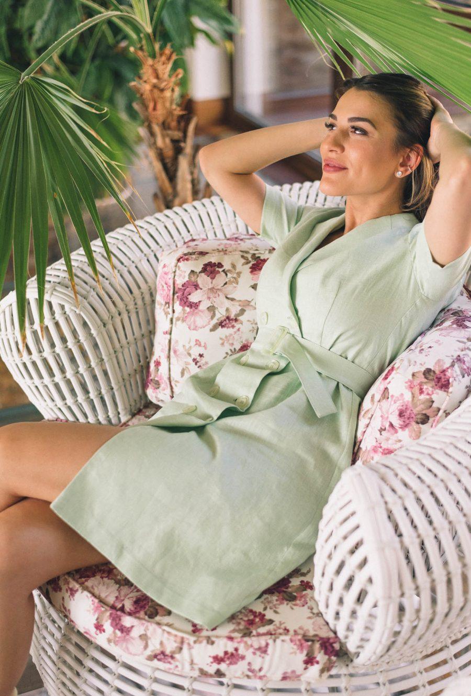 Mint Linen brazer dress