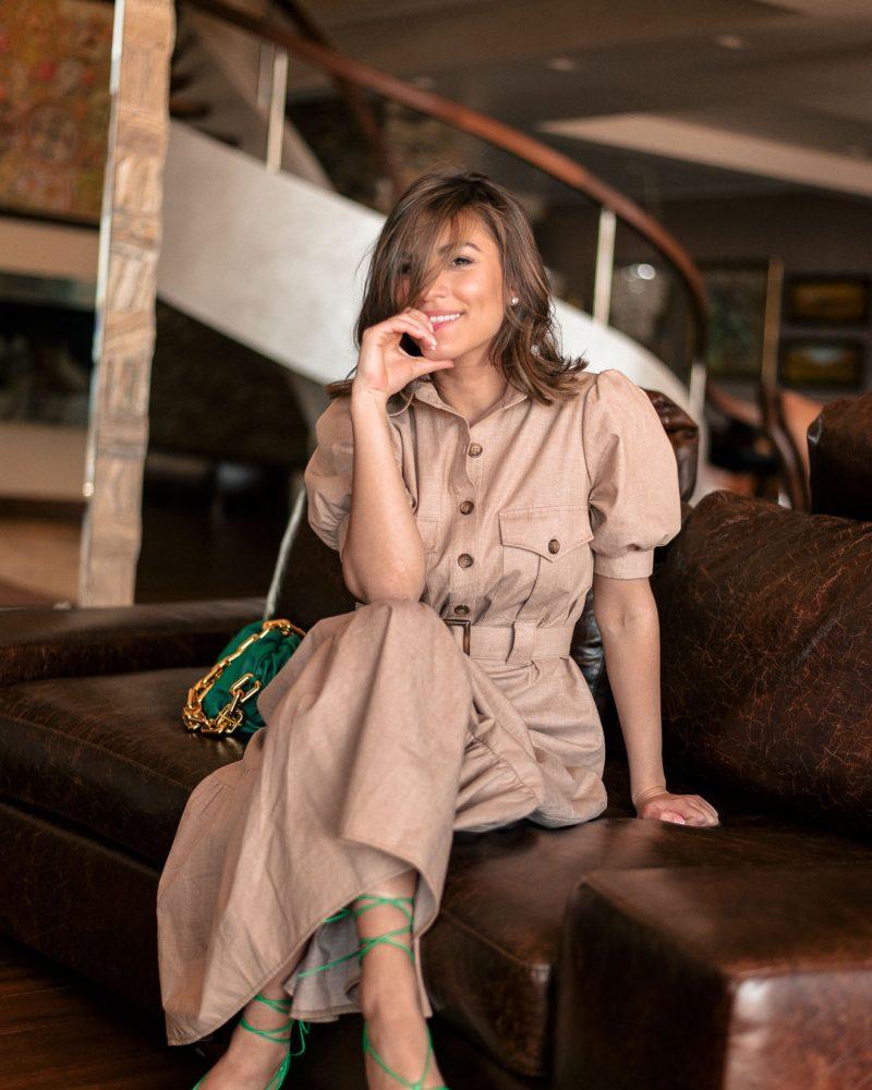Wearing Denina Martin Collection summer safari dress