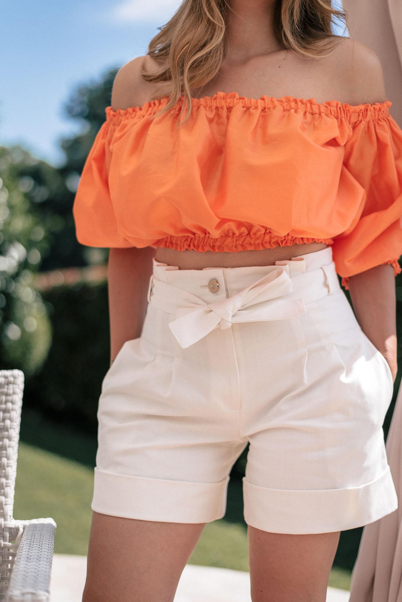 Denim white shorts by Denina Martin Collection