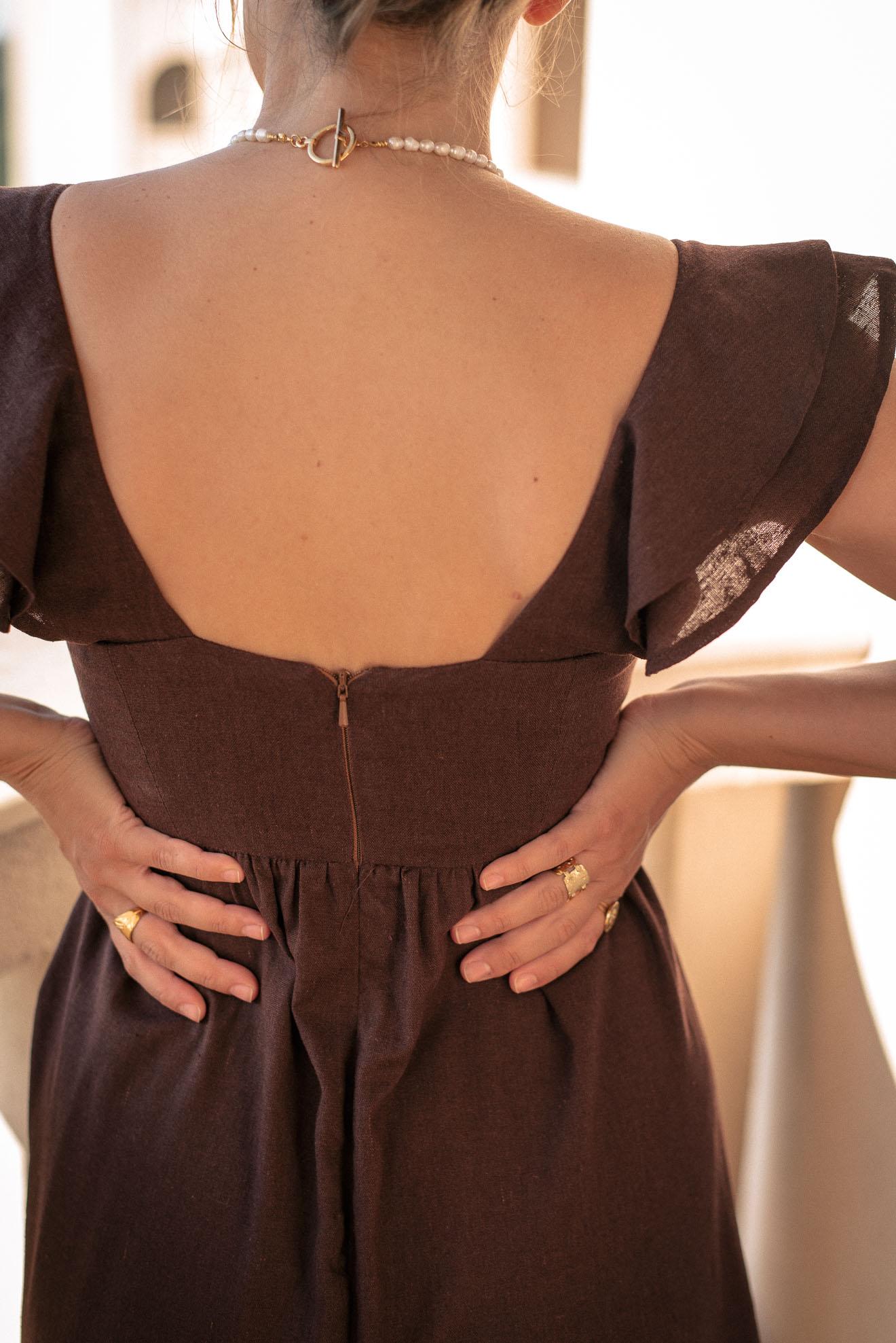 Linen blend dress back