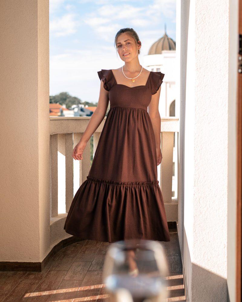 Linen blend dress in brown