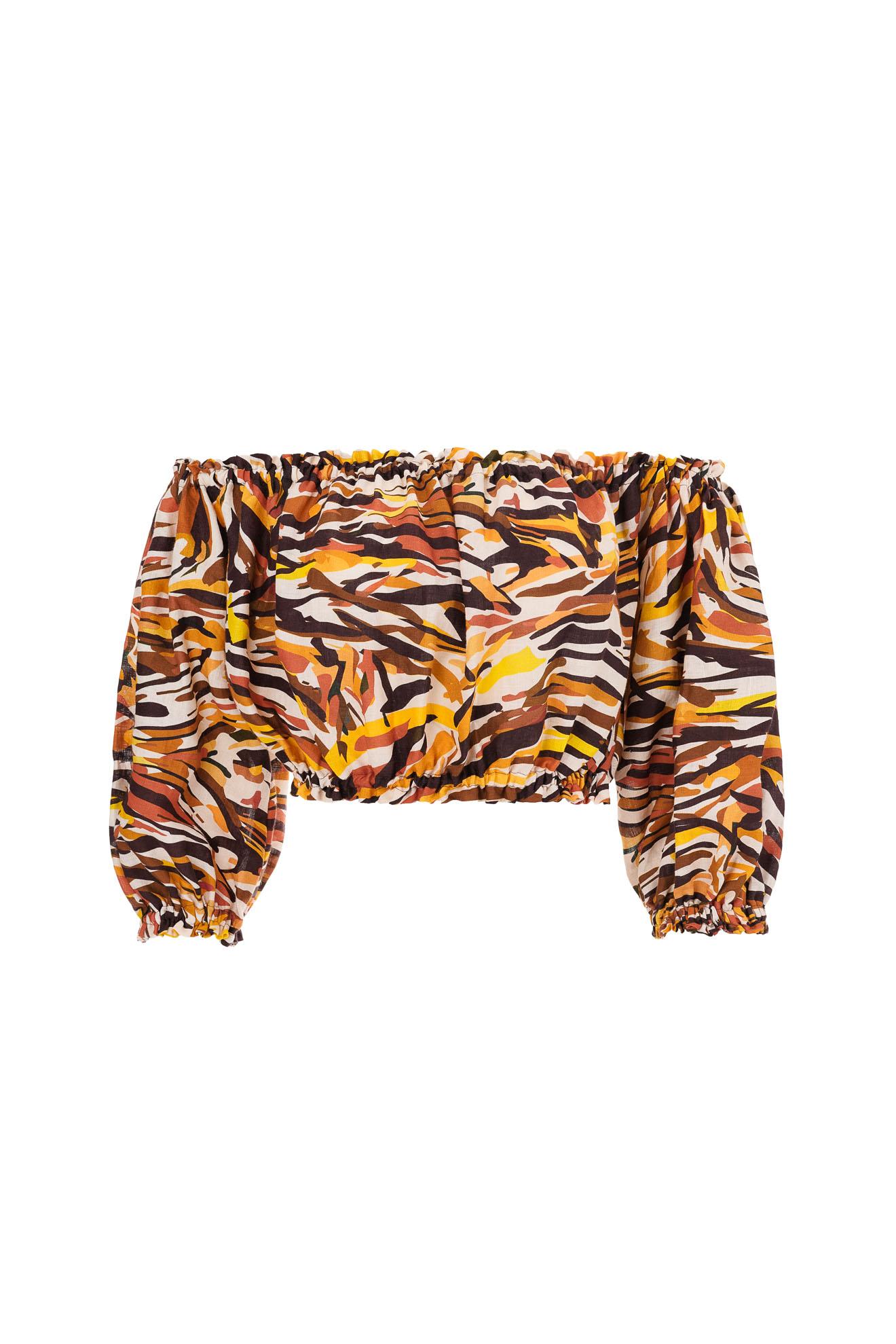 Printed linen top