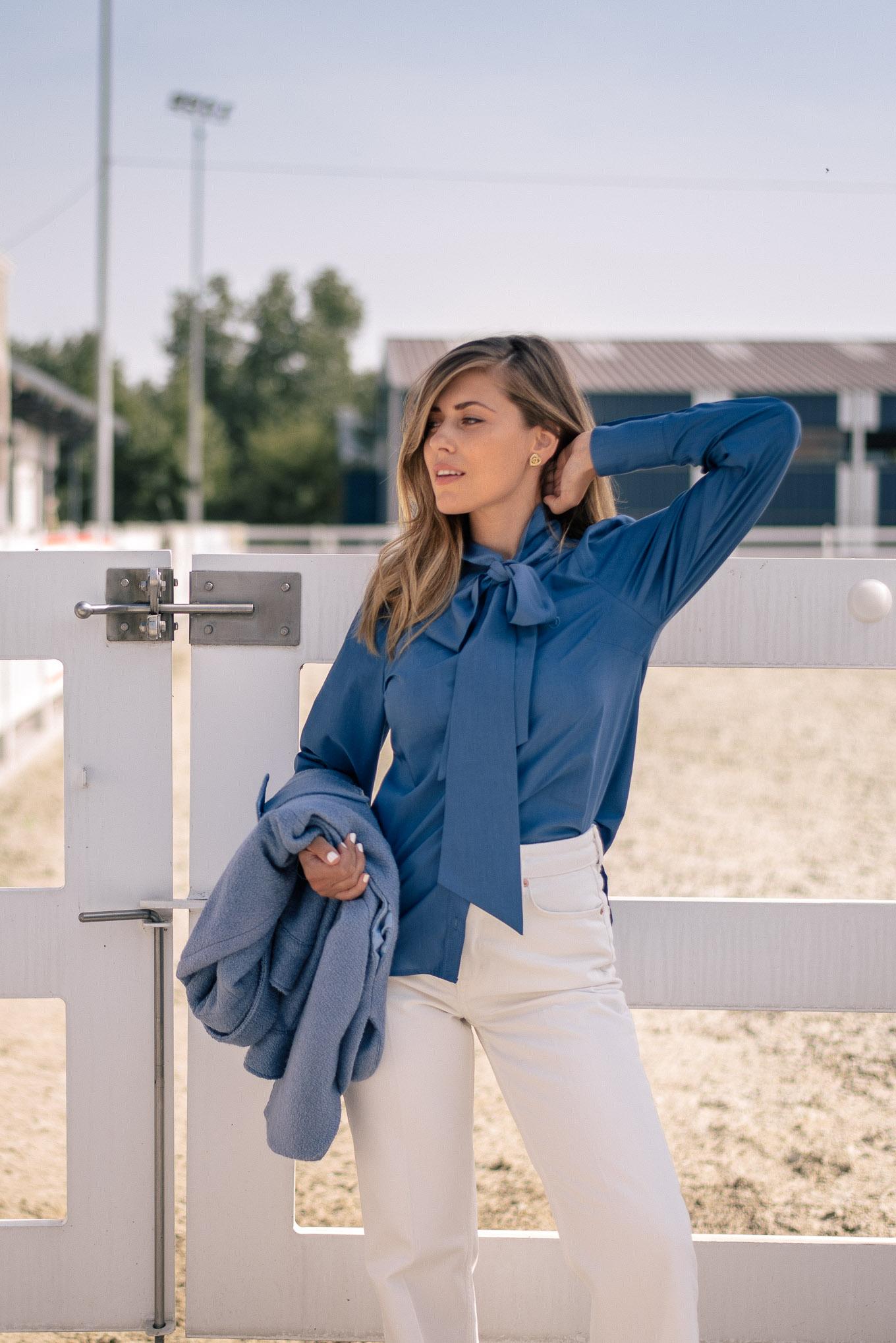 Denina Martin blue ilk blend shirt